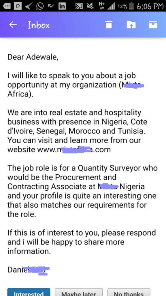 Linkedin Job Offer Testimonial (Adewale)